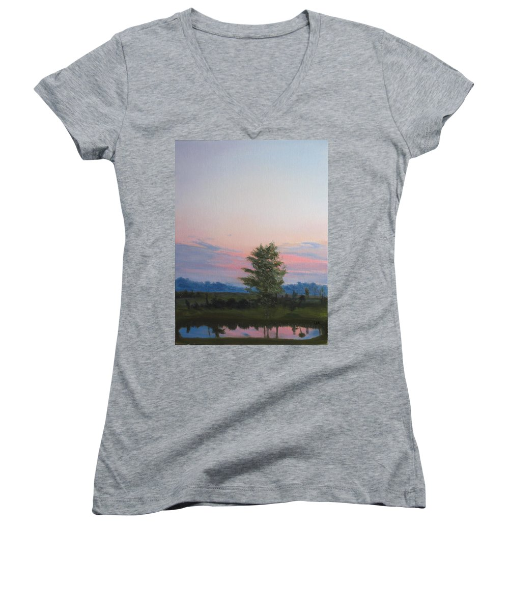 Landscape Women's V-Neck (Athletic Fit) featuring the painting Evening Sky by Lea Novak