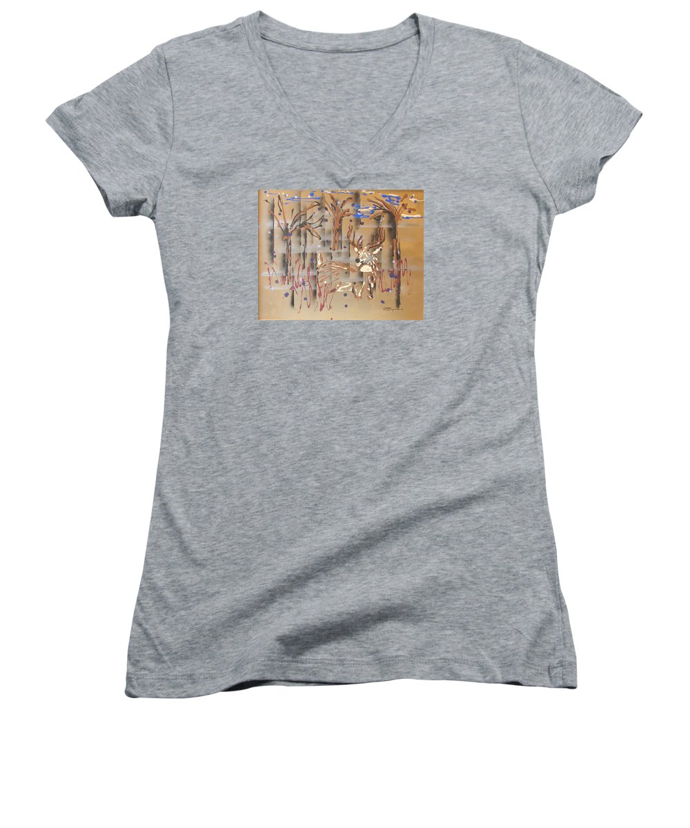 Buck In Tree Line Women's V-Neck T-Shirt (Junior Cut) featuring the painting Everwatchful by J R Seymour