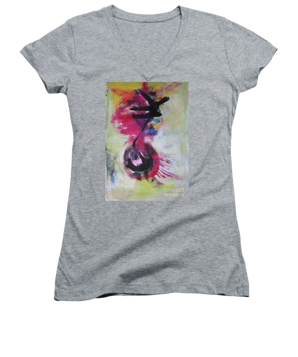 Abstract Paintings Red Paintings Women's V-Neck (Athletic Fit) featuring the painting Everything A Mistake-abstract Red Painting by Seon-Jeong Kim
