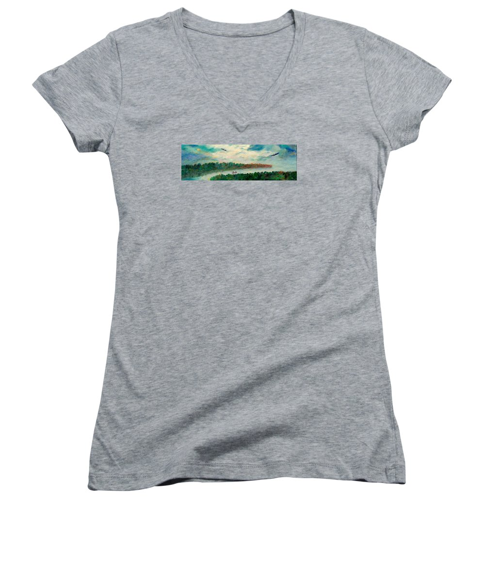 Canoeing On The Big Canadian Lakes Women's V-Neck (Athletic Fit) featuring the painting Exploring Our Lake by Naomi Gerrard