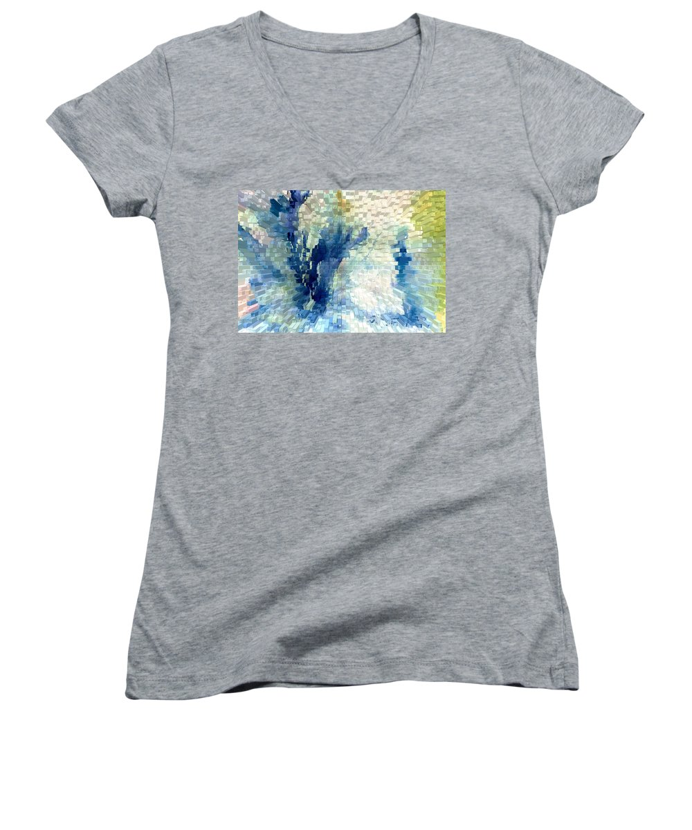 Abstract Women's V-Neck T-Shirt featuring the painting Extrude by Steve Karol