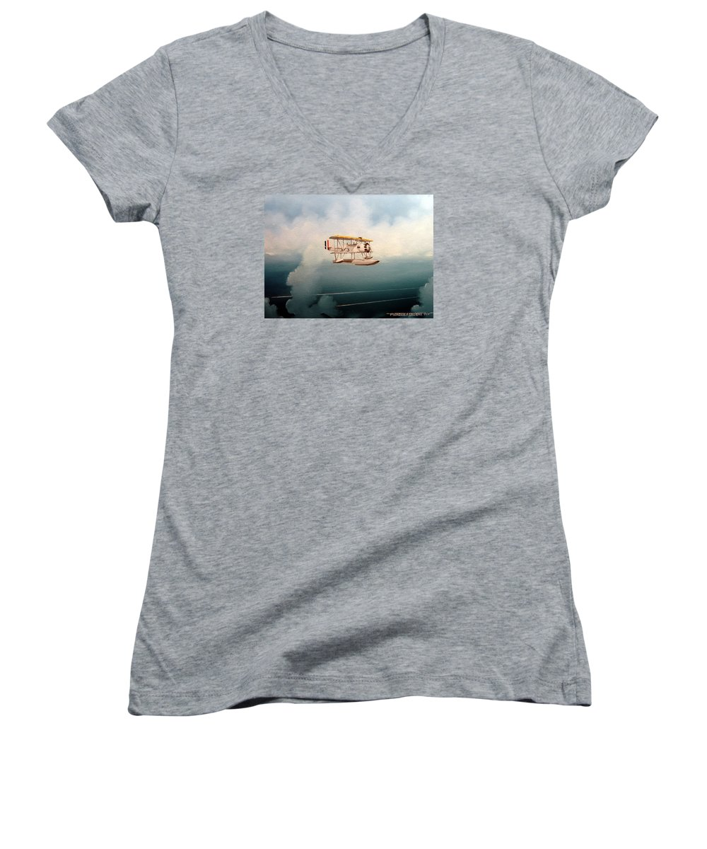 Military Women's V-Neck (Athletic Fit) featuring the painting Eyes Of The Fleet by Marc Stewart