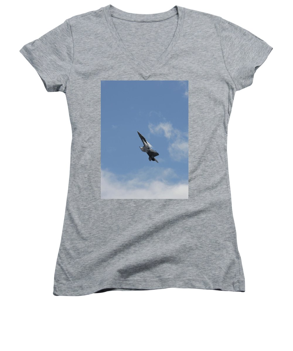 Mcdonnell Douglas F/a-18 Hornet Women's V-Neck T-Shirt (Junior Cut) featuring the photograph F/a-18 Fighter Fast Climb by Aaron Berg