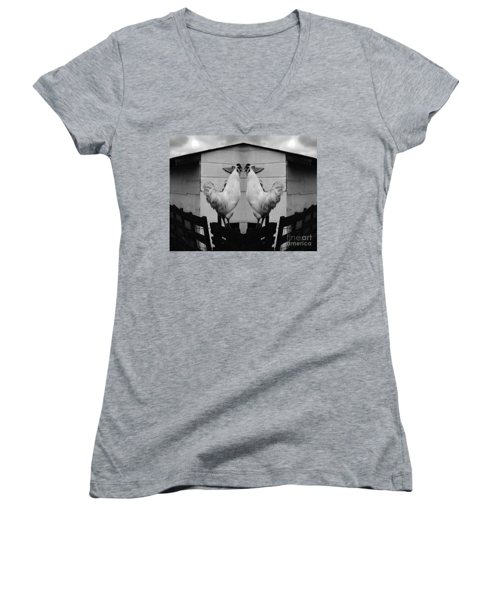Rooster Women's V-Neck T-Shirt featuring the photograph Face Off by Peter Piatt