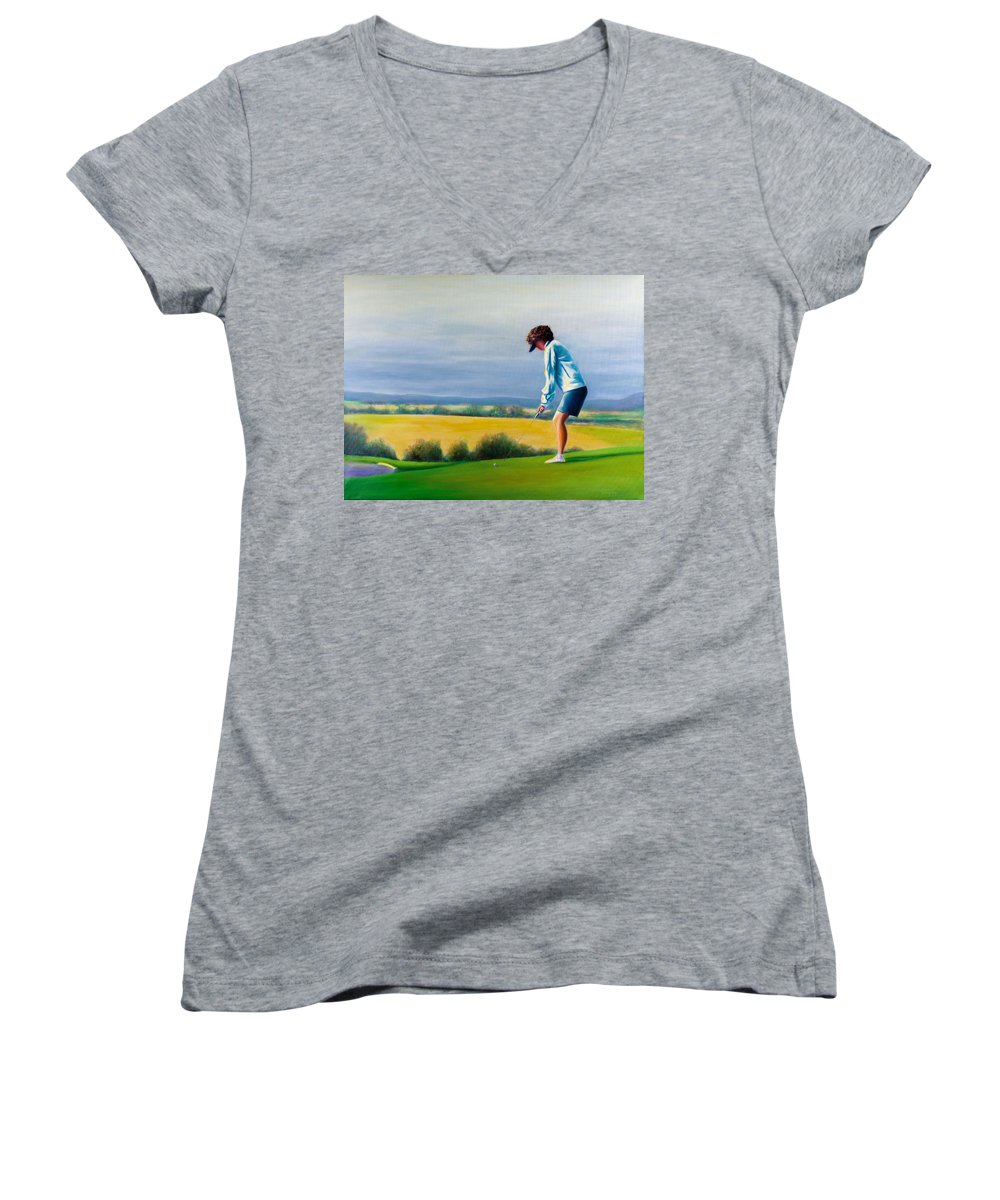 Golfer Women's V-Neck T-Shirt featuring the painting Fairy Golf Mother by Shannon Grissom