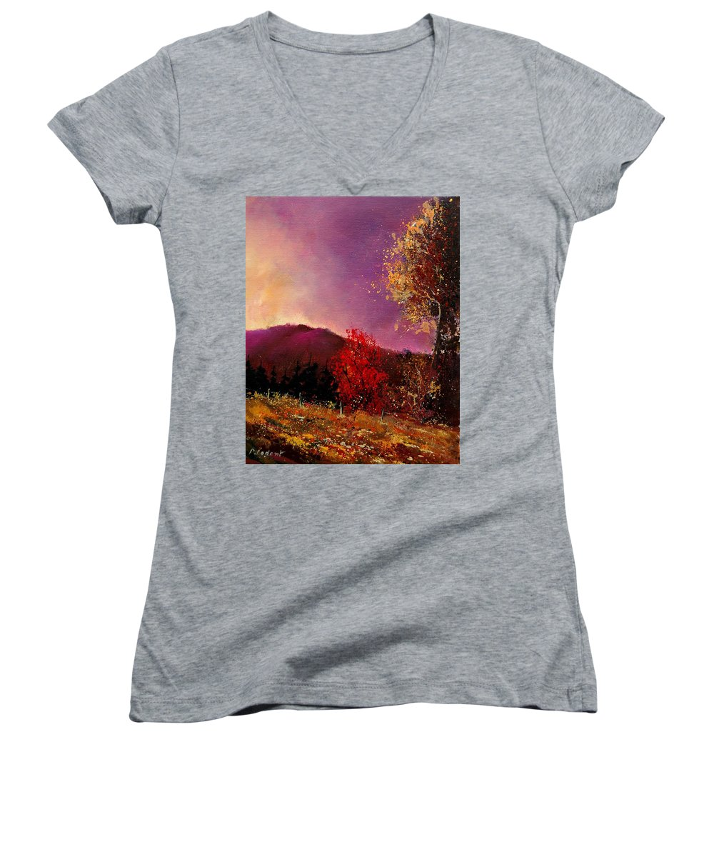 River Women's V-Neck T-Shirt featuring the painting Fall Colors by Pol Ledent
