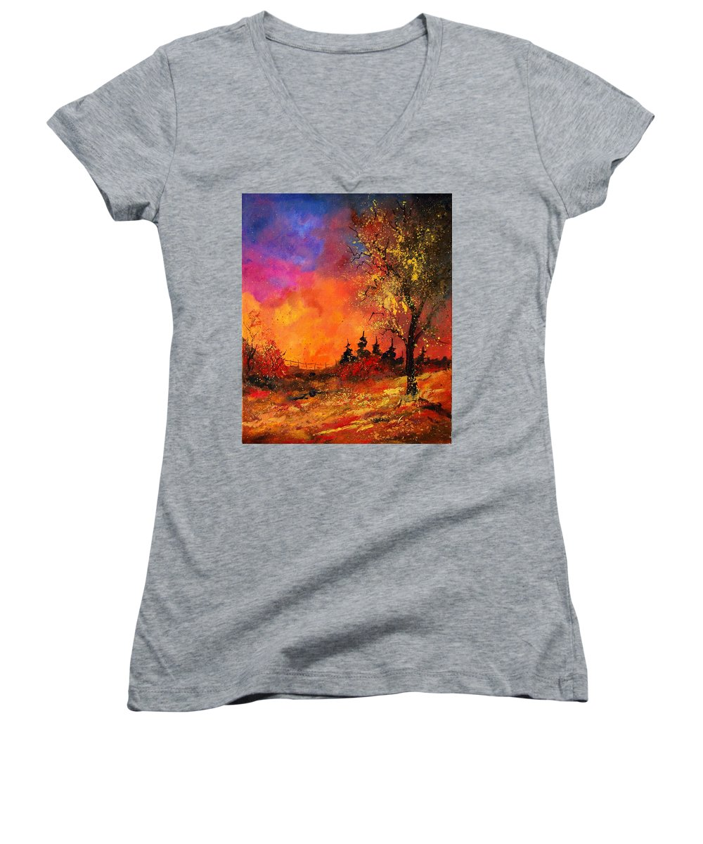 River Women's V-Neck T-Shirt featuring the painting Fall by Pol Ledent