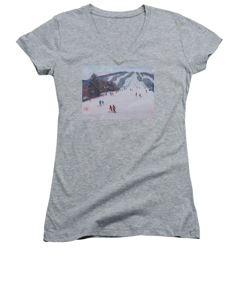 Landscape Women's V-Neck (Athletic Fit) featuring the painting Family Ski by Dianne Panarelli Miller