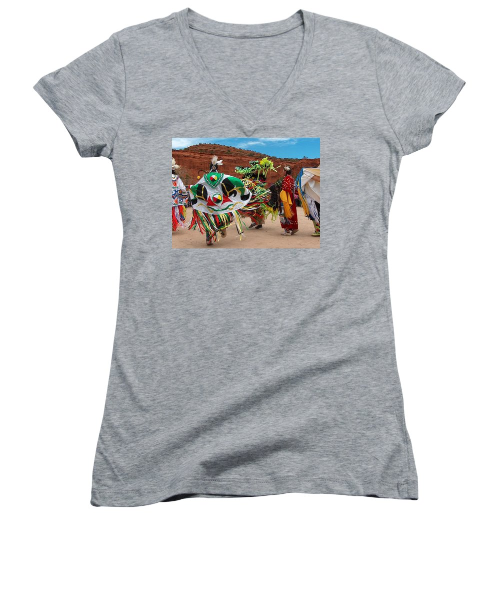 Fancy Shawl Dancer Women's V-Neck T-Shirt featuring the photograph Fancy Shawl Dancer At Star Feather Pow-wow by Tim McCarthy