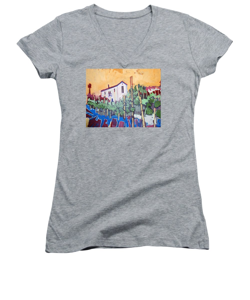 Farm House Women's V-Neck T-Shirt featuring the painting Farm House by Kurt Hausmann