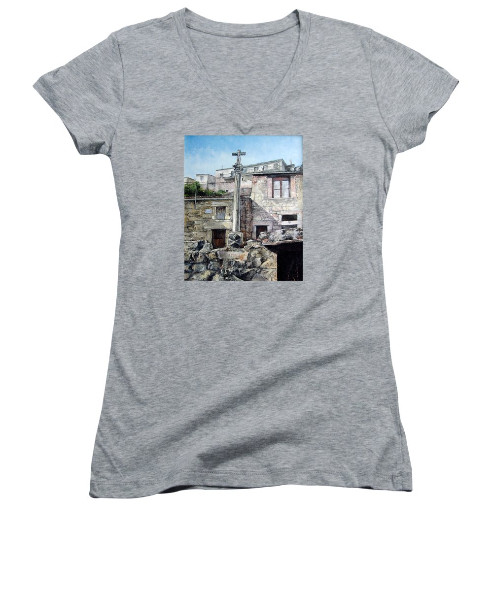 Fermoselle Women's V-Neck (Athletic Fit) featuring the painting Fermoselle.-crucero by Tomas Castano