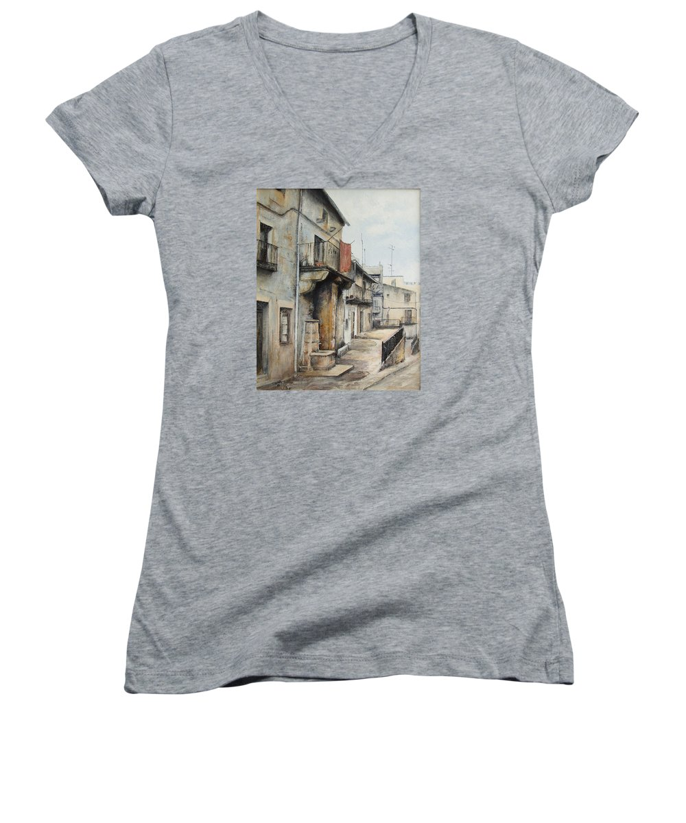 Fermoselle Zamora Spain Oil Painting City Scapes Urban Art Women's V-Neck T-Shirt featuring the painting Fermoselle by Tomas Castano