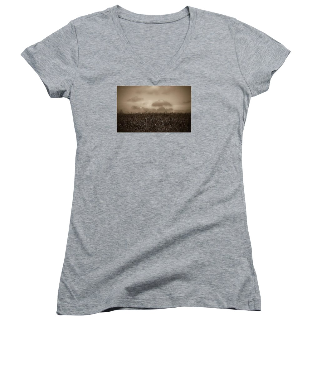 Poland Women's V-Neck T-Shirt featuring the photograph Field In Sepia Northern Poland by Michael Ziegler
