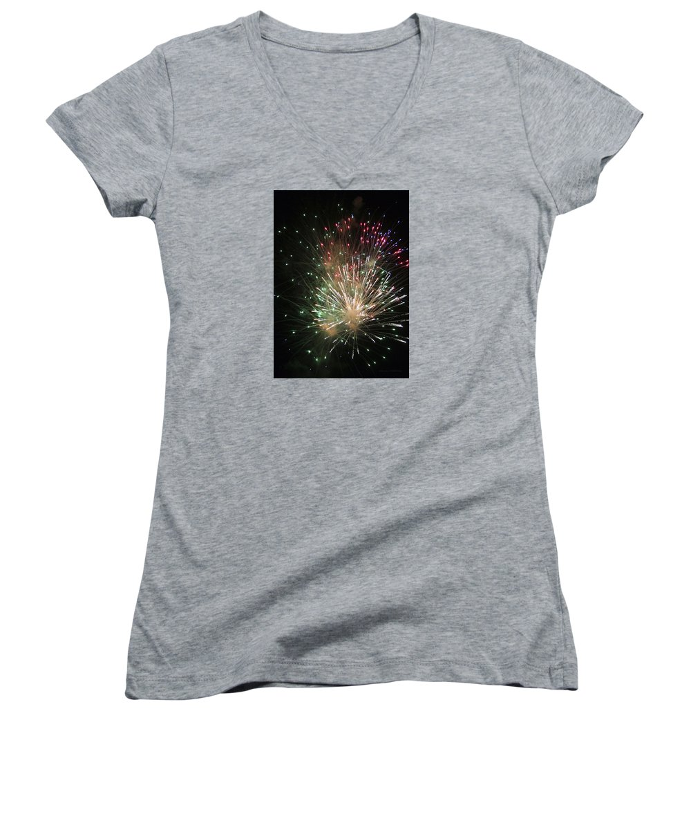 Fireworks Women's V-Neck (Athletic Fit) featuring the photograph Fireworks by Margie Wildblood