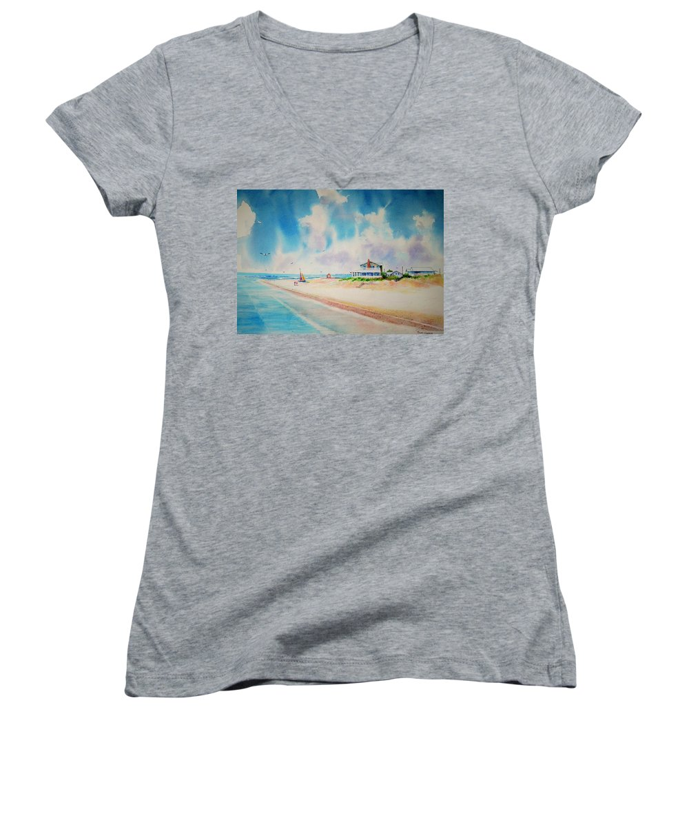 Beach Women's V-Neck T-Shirt featuring the painting First Day Of Vacation Is Pricless by Tom Harris