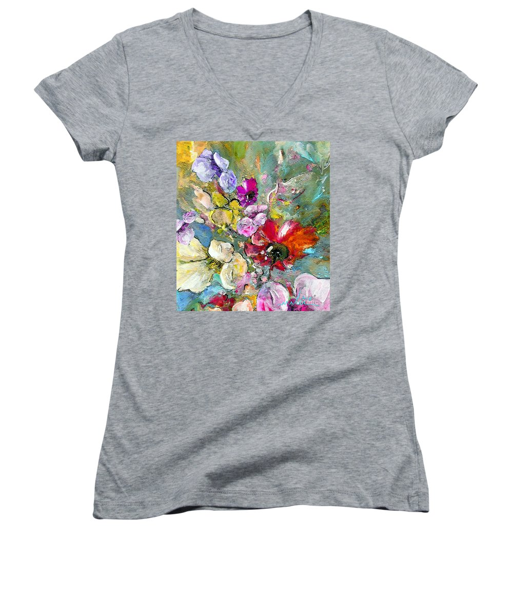 Nature Painting Women's V-Neck T-Shirt featuring the painting First Flowers by Miki De Goodaboom