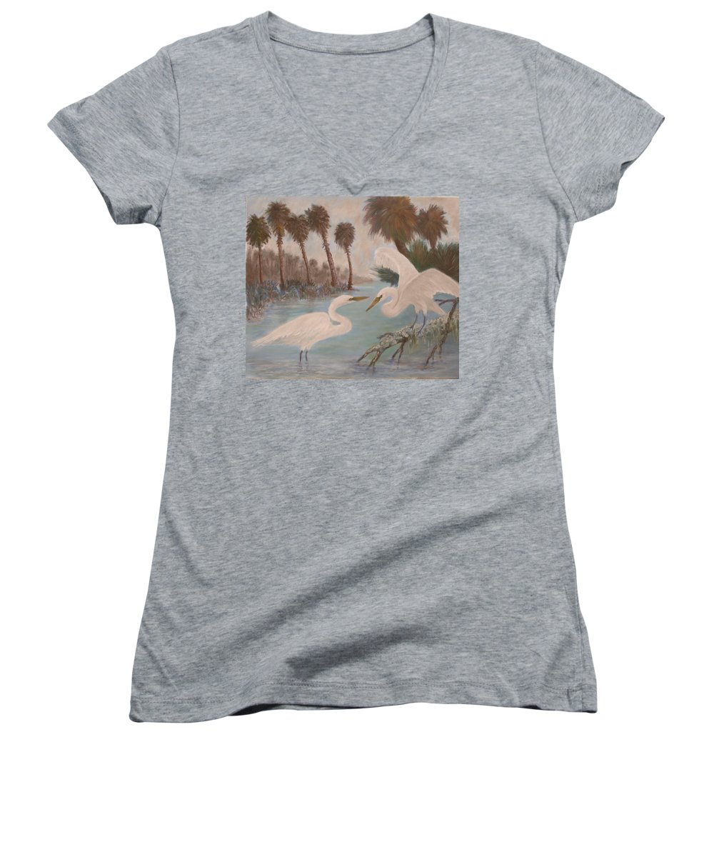 Egret Women's V-Neck T-Shirt featuring the painting First Meeting by Ben Kiger