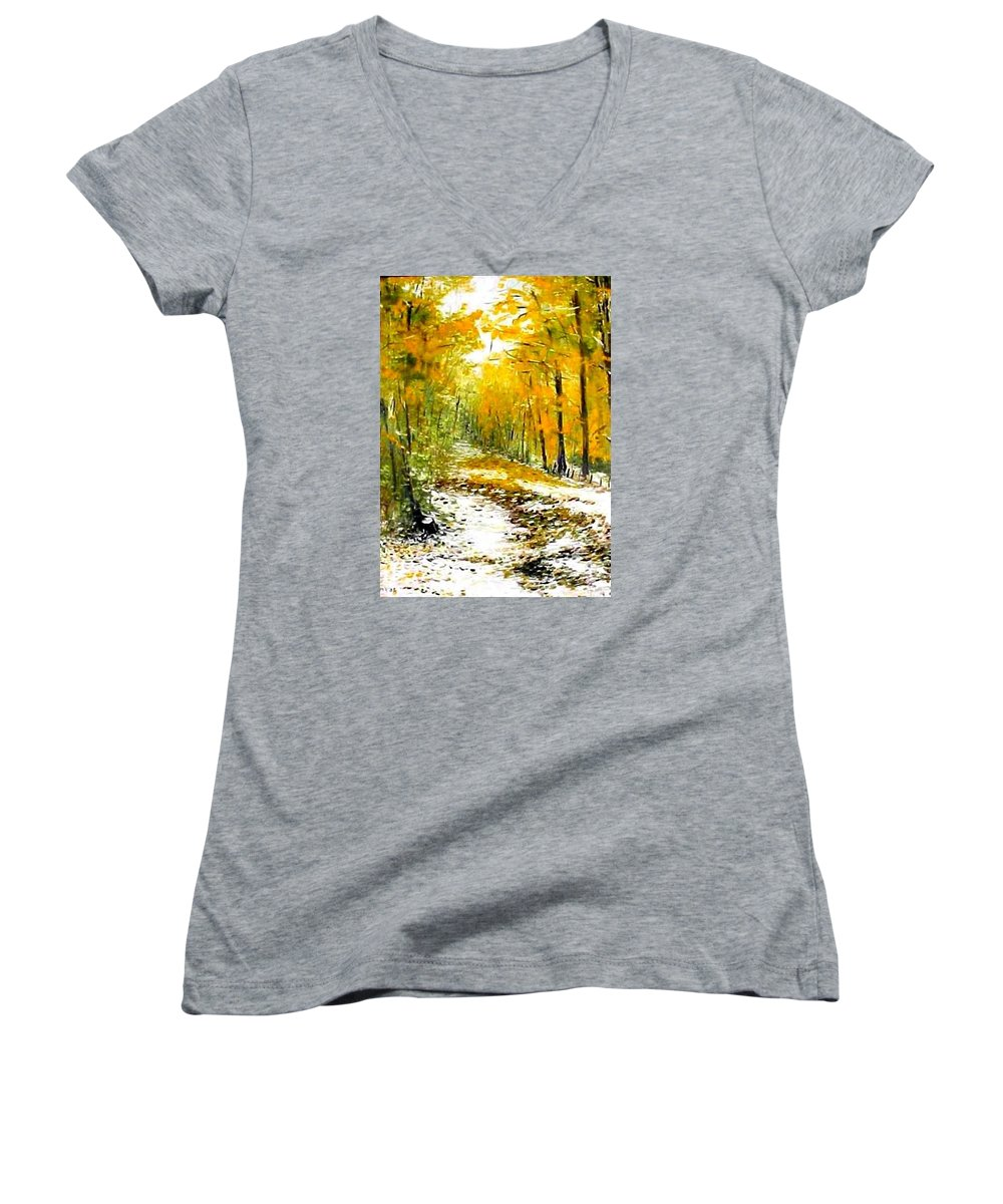 Landscape Women's V-Neck T-Shirt featuring the painting First Snow by Boris Garibyan