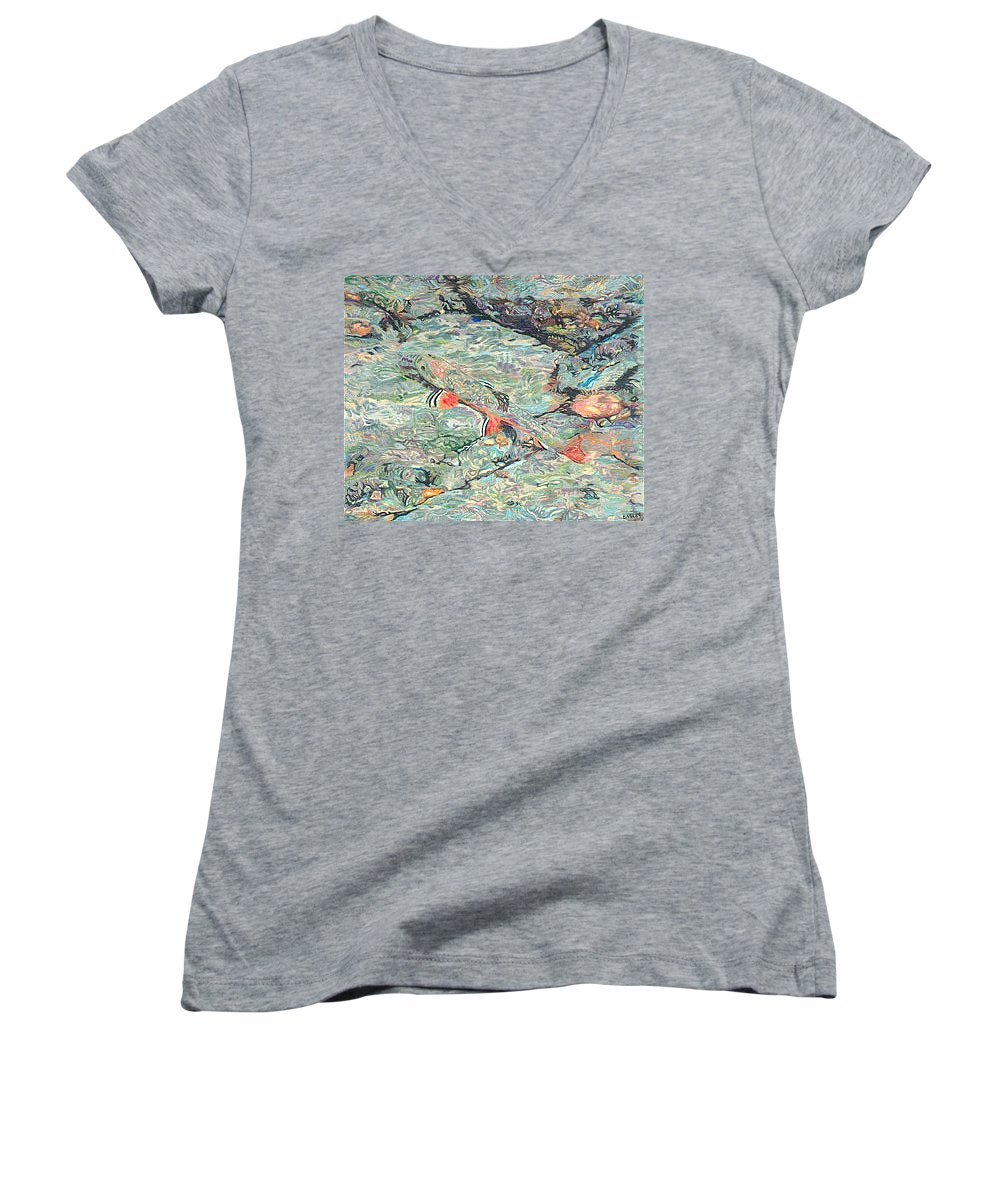 Art Women's V-Neck T-Shirt featuring the drawing Fish Art Trout Art Brook Trout Brookie Artwork Nature Underwater Wildlife Creek Art River Art Lake by Baslee Troutman