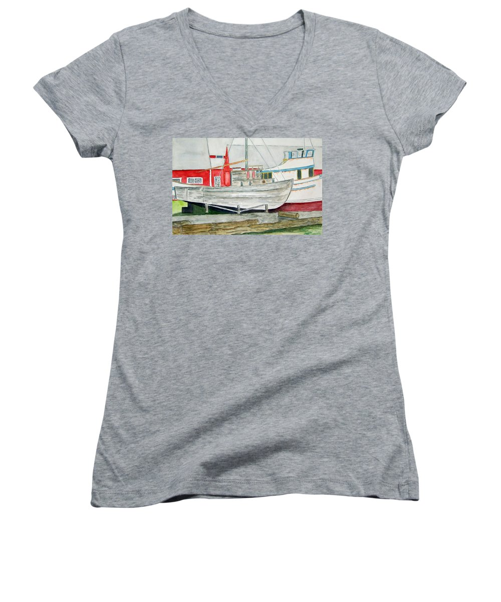 Alaska Art Women's V-Neck (Athletic Fit) featuring the painting Fish Out Of Water by Larry Wright