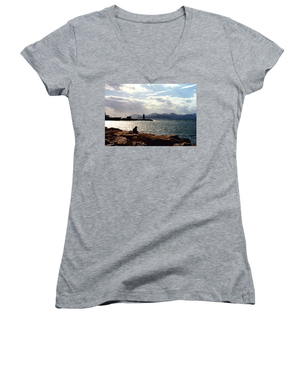 Fisherman Women's V-Neck (Athletic Fit) featuring the photograph Fisherman In Nice France by Nancy Mueller