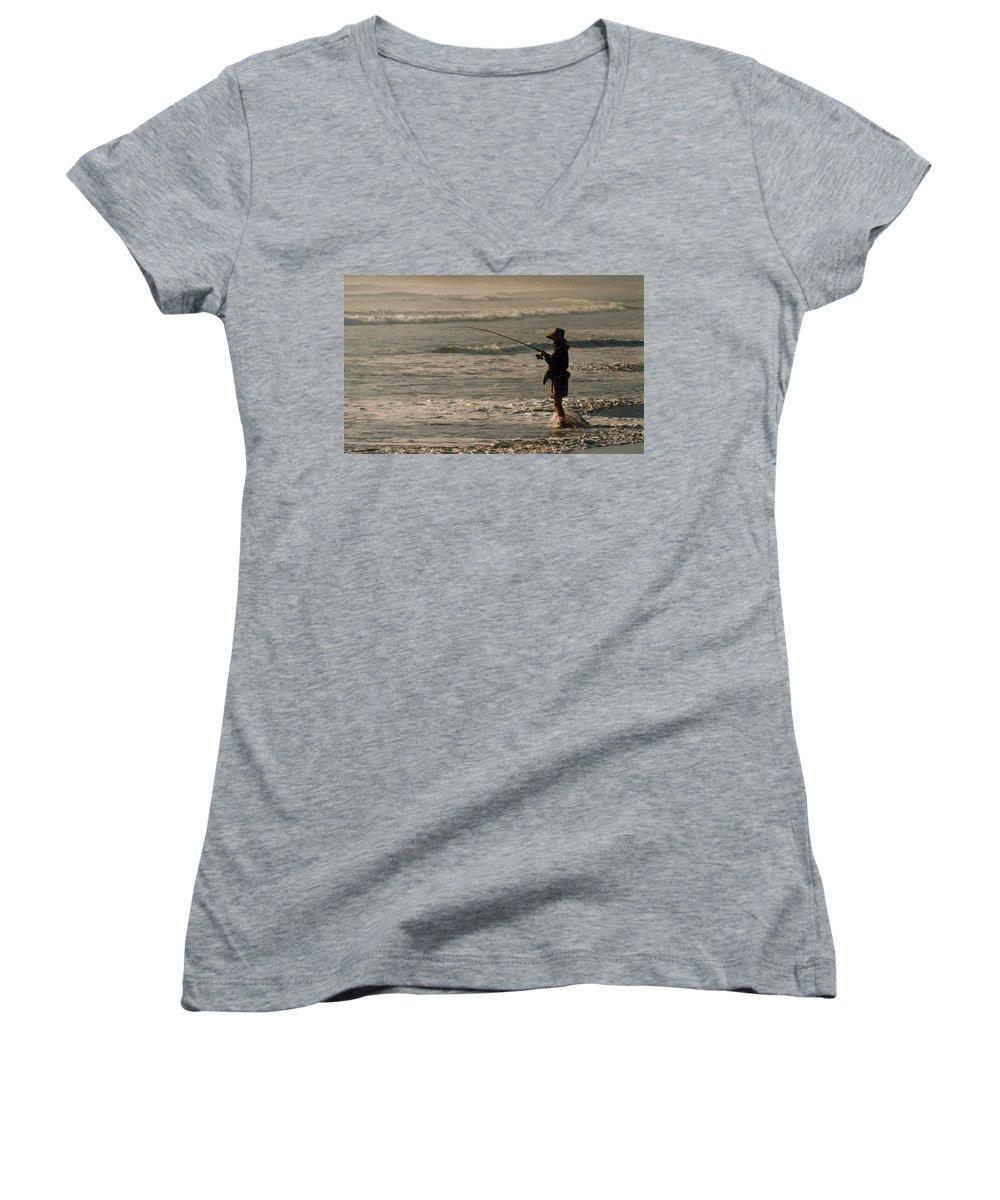 Fisherman Women's V-Neck T-Shirt featuring the photograph Fisherman by Steve Karol