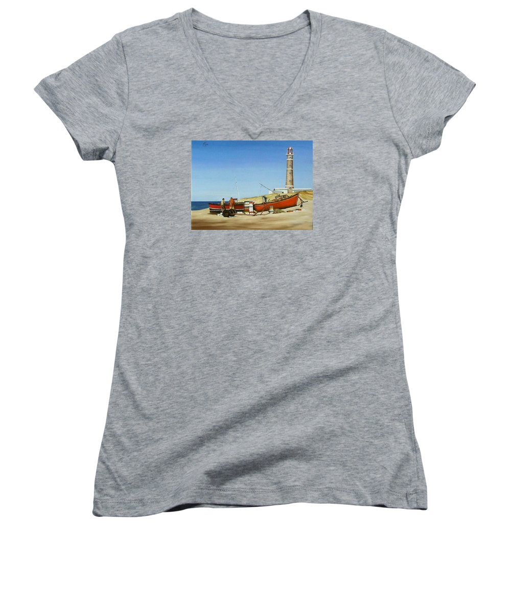 Lighthouse Fishermen Sea Seascape Women's V-Neck T-Shirt featuring the painting Fishermen By Lighthouse by Natalia Tejera