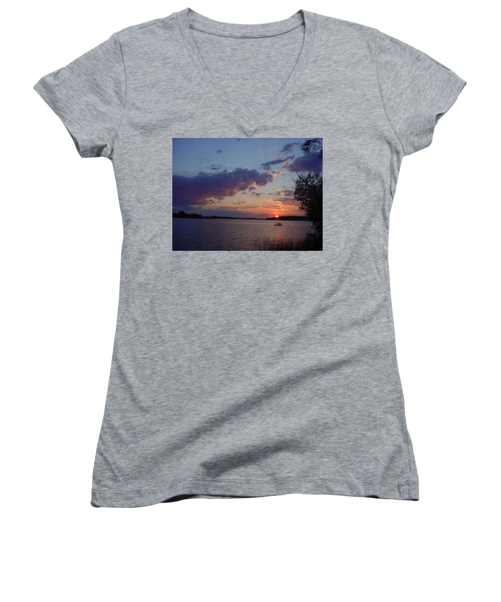 St.lawrence River Women's V-Neck (Athletic Fit) featuring the photograph Fishing On The St.lawrence River. by Jerrold Carton