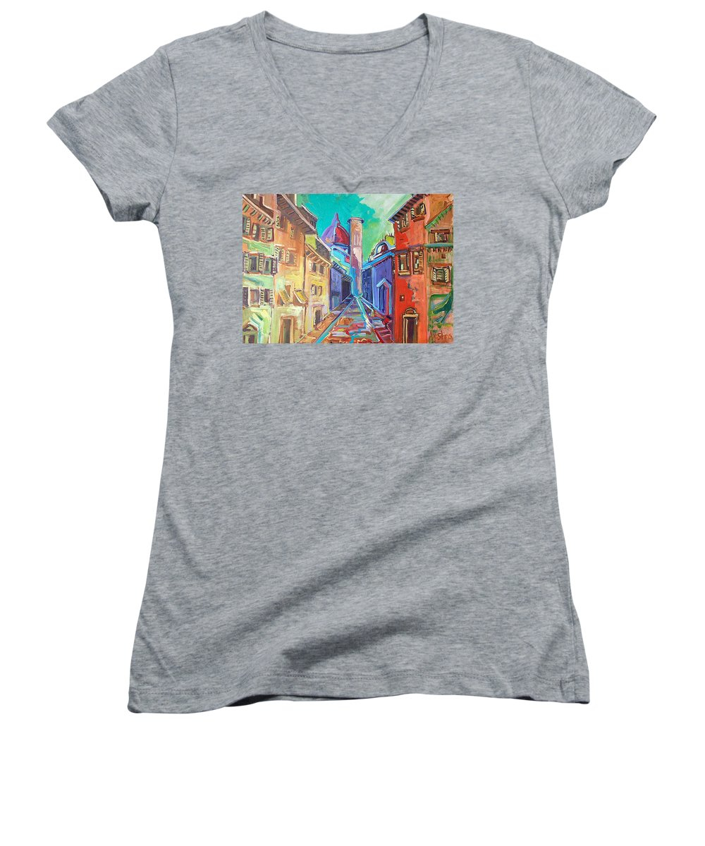 City Women's V-Neck T-Shirt featuring the painting Florence by Kurt Hausmann