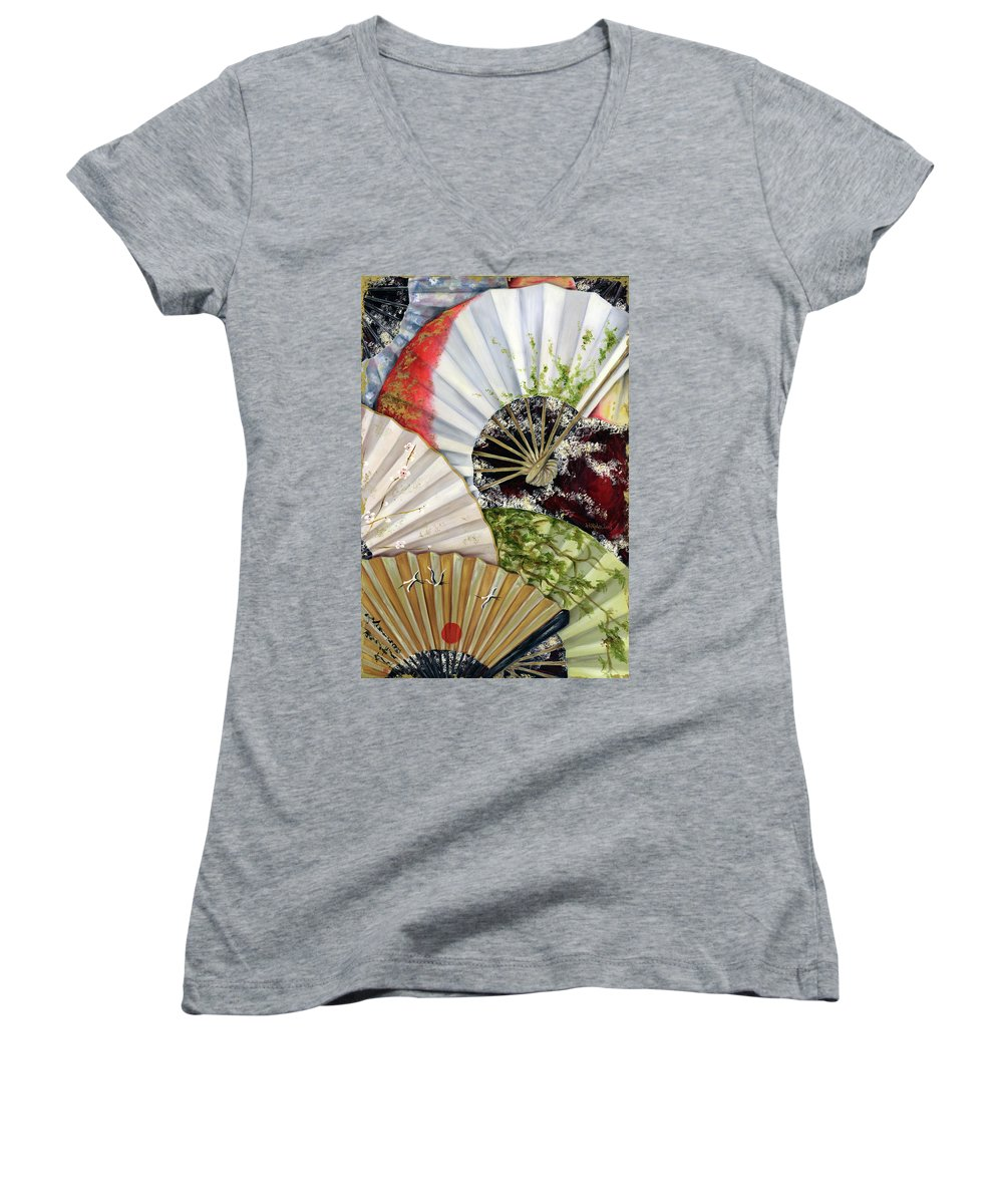 Japanese Women's V-Neck (Athletic Fit) featuring the painting Flower Garden by Hiroko Sakai