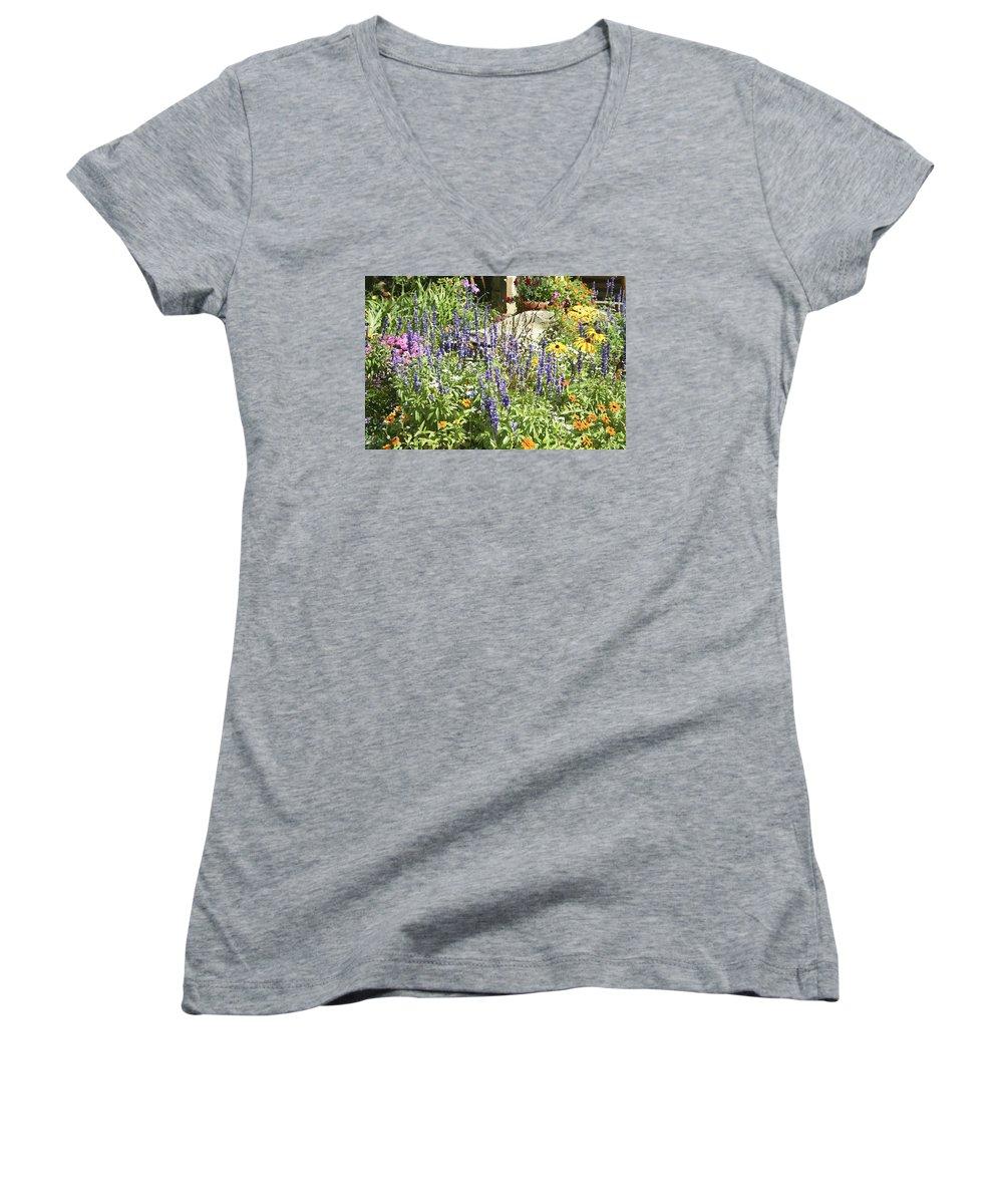 Flower Women's V-Neck T-Shirt featuring the photograph Flower Garden by Margie Wildblood