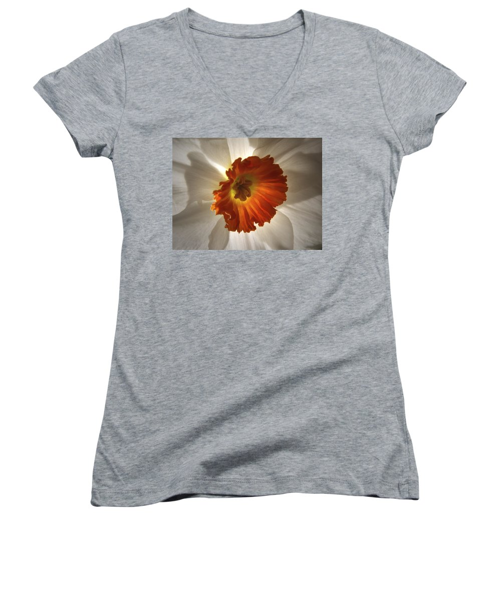 Flowers Women's V-Neck T-Shirt featuring the photograph Flower Narcissus by Nancy Griswold