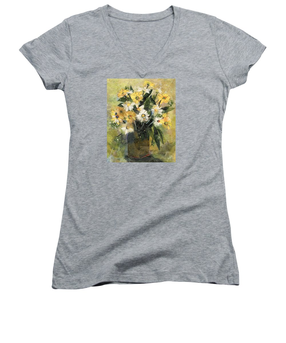 Limited Edition Prints Women's V-Neck (Athletic Fit) featuring the painting Flowers In White And Yellow by Nira Schwartz