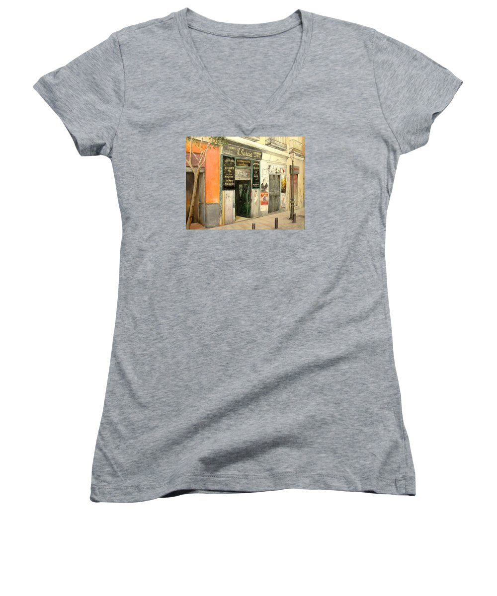 Streetscene Women's V-Neck T-Shirt featuring the painting Fontaneria E.garcia by Tomas Castano