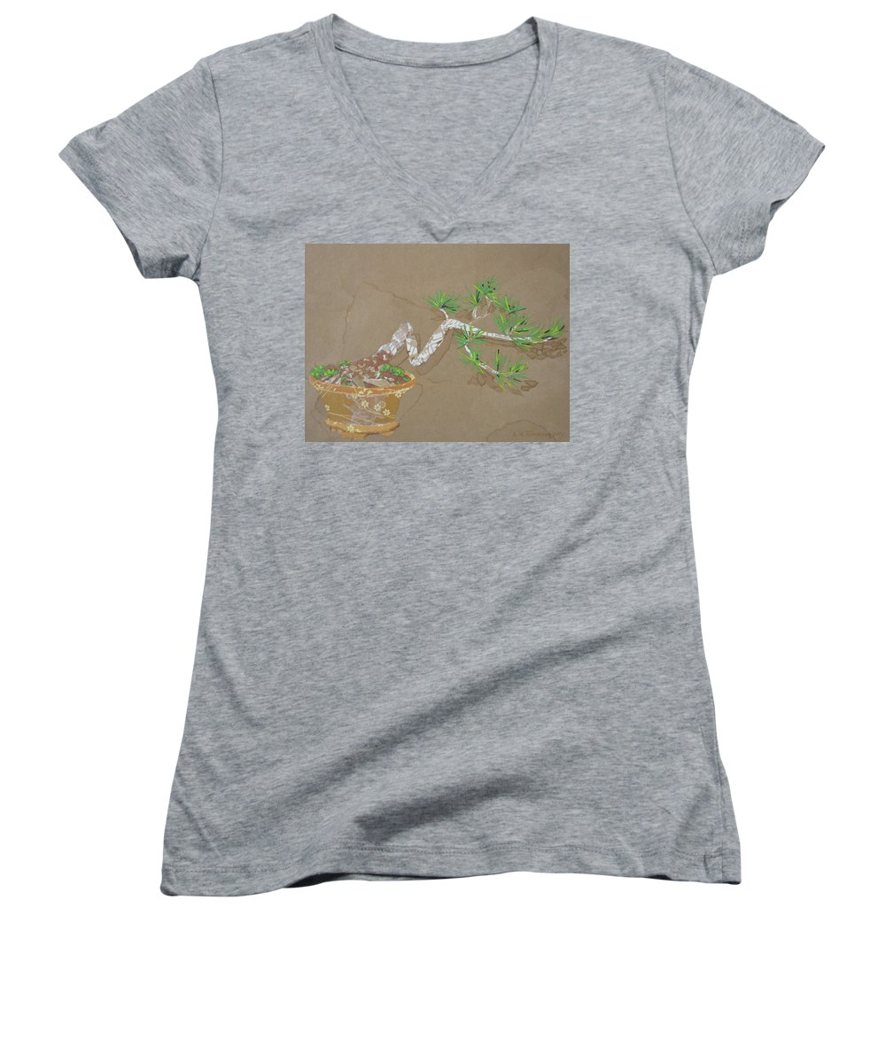 Banzai Tree Women's V-Neck T-Shirt featuring the painting For Inge by Leah Tomaino