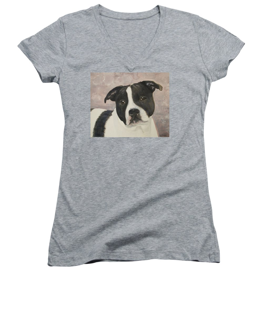 Dog Women's V-Neck (Athletic Fit) featuring the painting For Me by Ally Benbrook