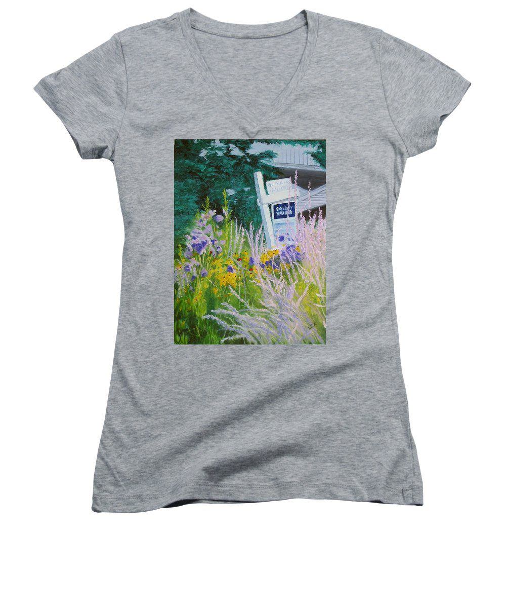 Landscape Women's V-Neck T-Shirt featuring the painting For Sale - A Patch Of Paradise by Lea Novak