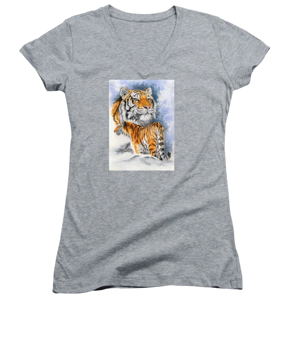 Big Cats Women's V-Neck (Athletic Fit) featuring the mixed media Forceful by Barbara Keith