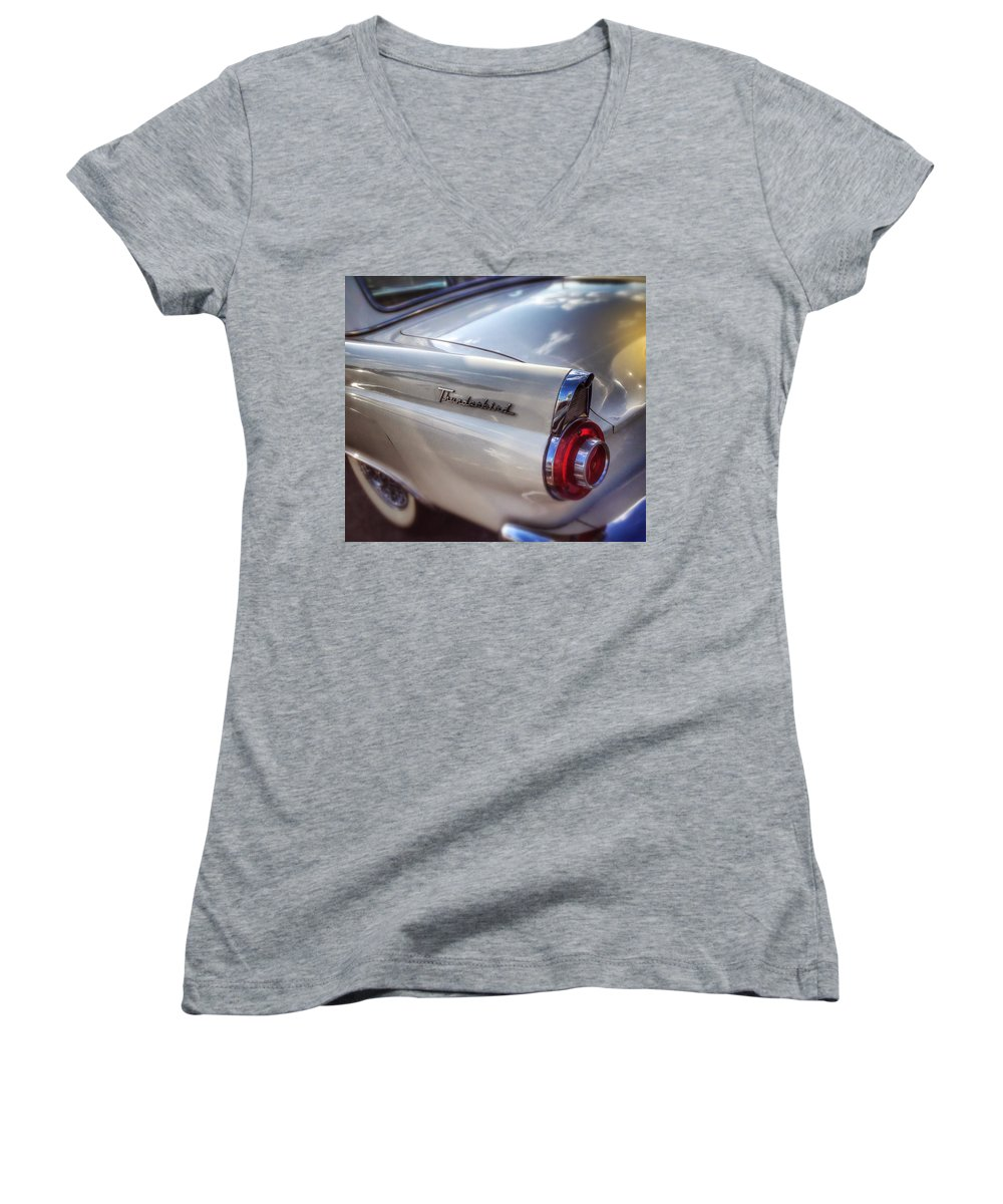 Wall Art Poster Blackandwhite Bw Bnw Black White Car Automotive Mobile Travel Road Classic Old Antique Thunderbird Ford Dreamy Roadshow Carshow Women's V-Neck featuring the photograph Ford Thunderbird Fender color 2 by Andrew Rhine