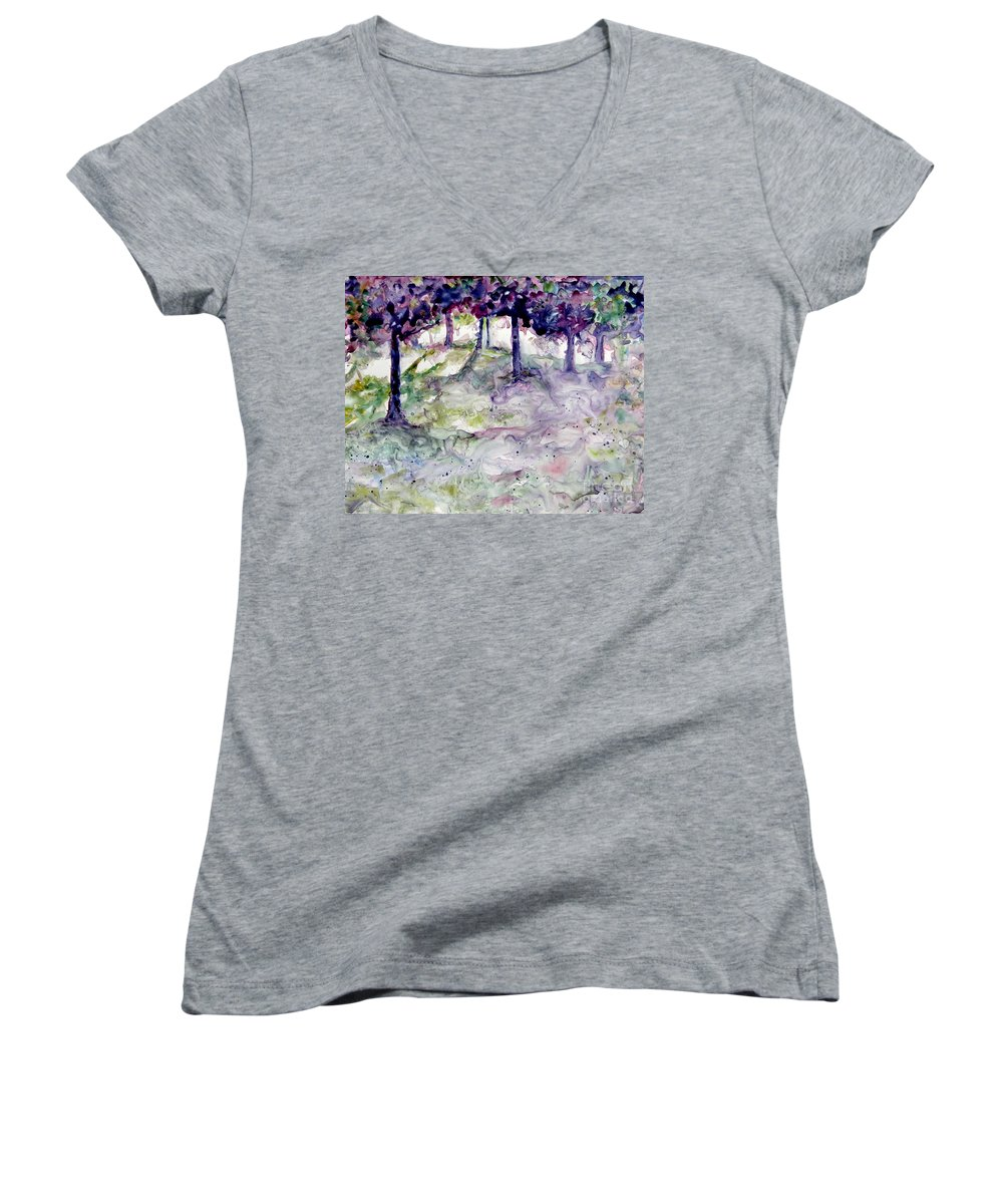 Fastasy Women's V-Neck T-Shirt featuring the painting Forest Fantasy by Jan Bennicoff