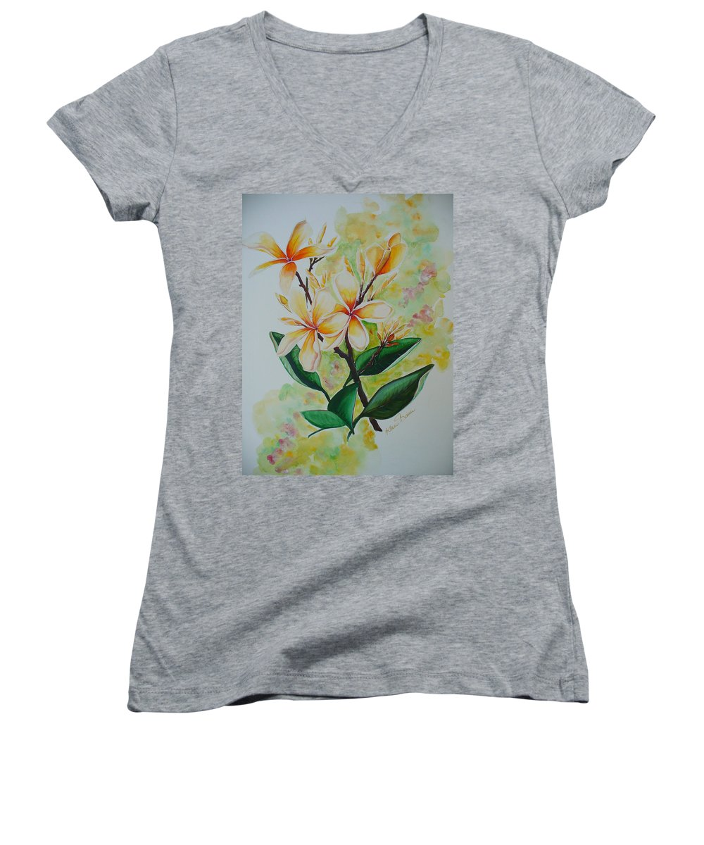 Women's V-Neck T-Shirt featuring the painting Frangipangi by Karin Dawn Kelshall- Best