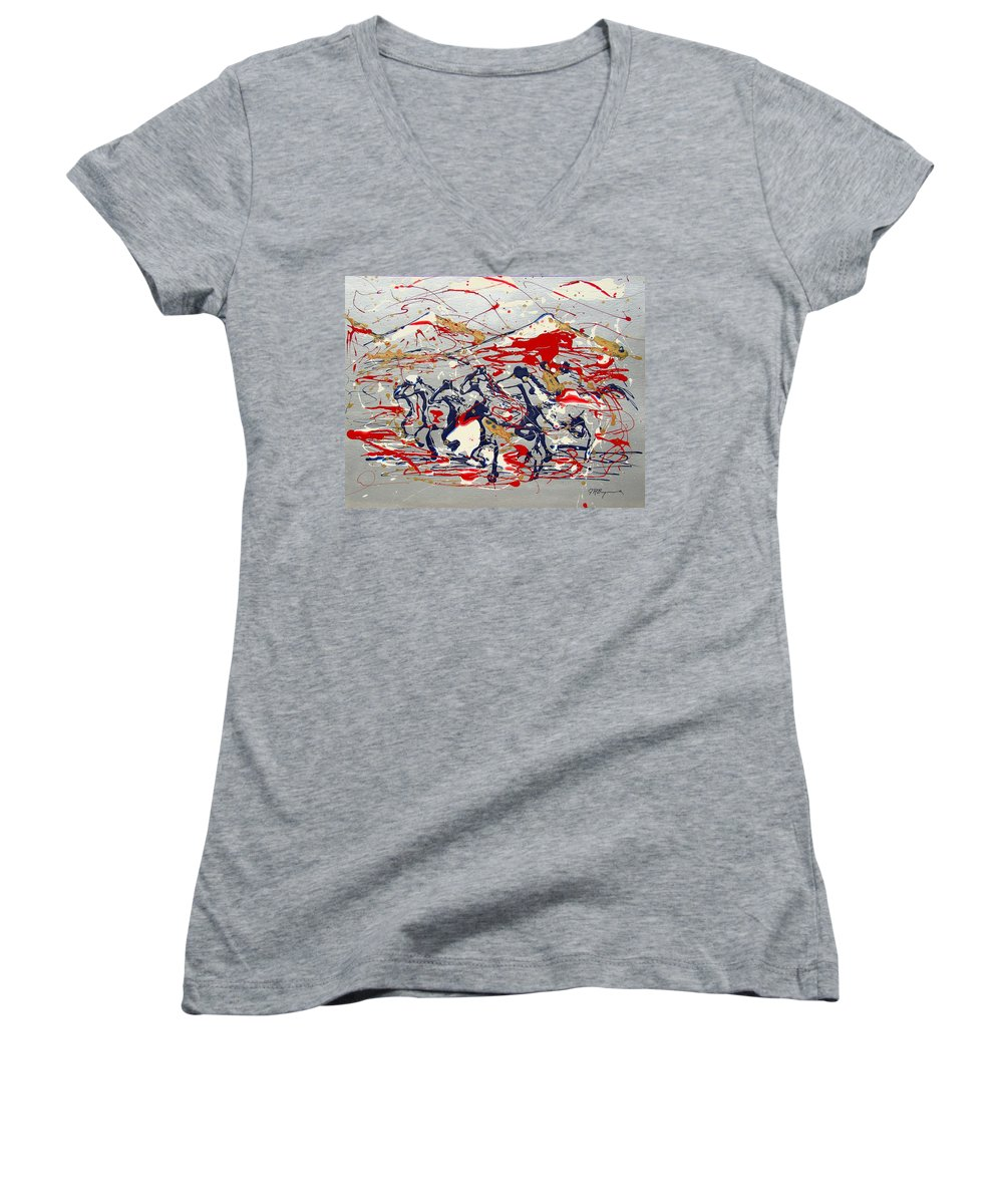 Freedom On The Open Range Women's V-Neck (Athletic Fit) featuring the painting Freedom On The Open Range by J R Seymour