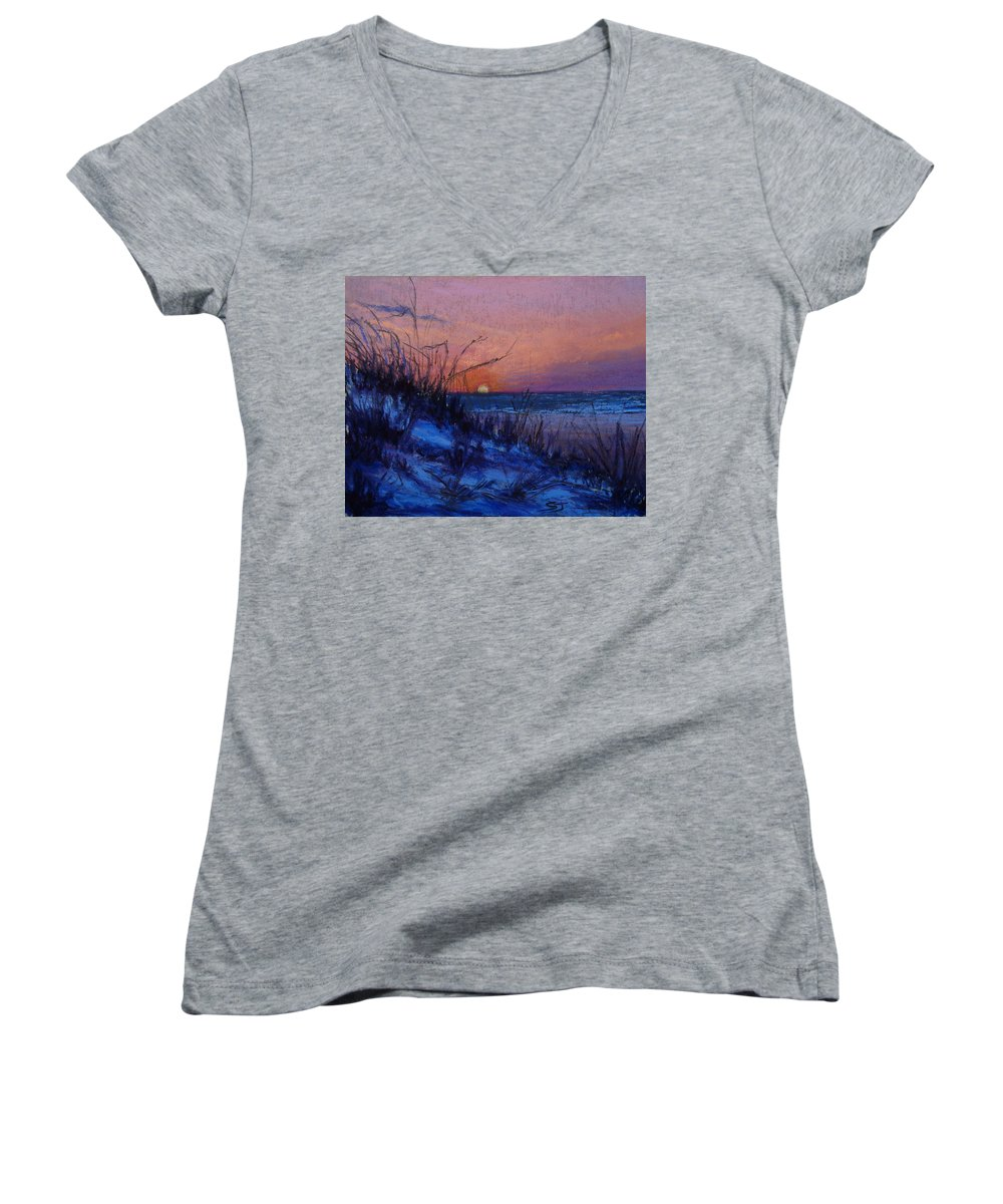 Landscape Women's V-Neck (Athletic Fit) featuring the pastel Frenchy's Sunset by Susan Jenkins