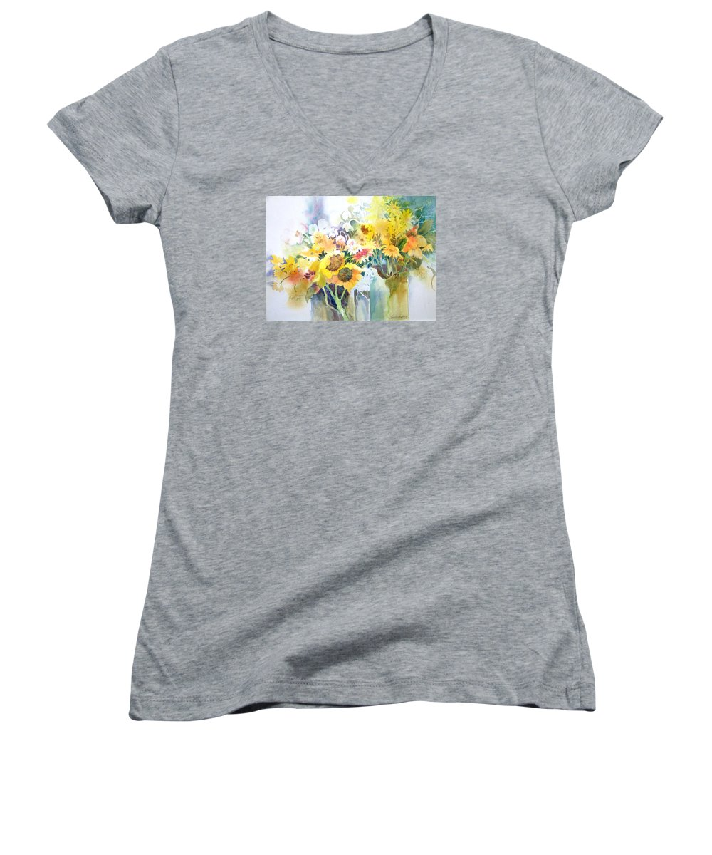 Contemporary;watercolor;sunflowers;daisies;floral; Women's V-Neck (Athletic Fit) featuring the painting Fresh-picked by Lois Mountz