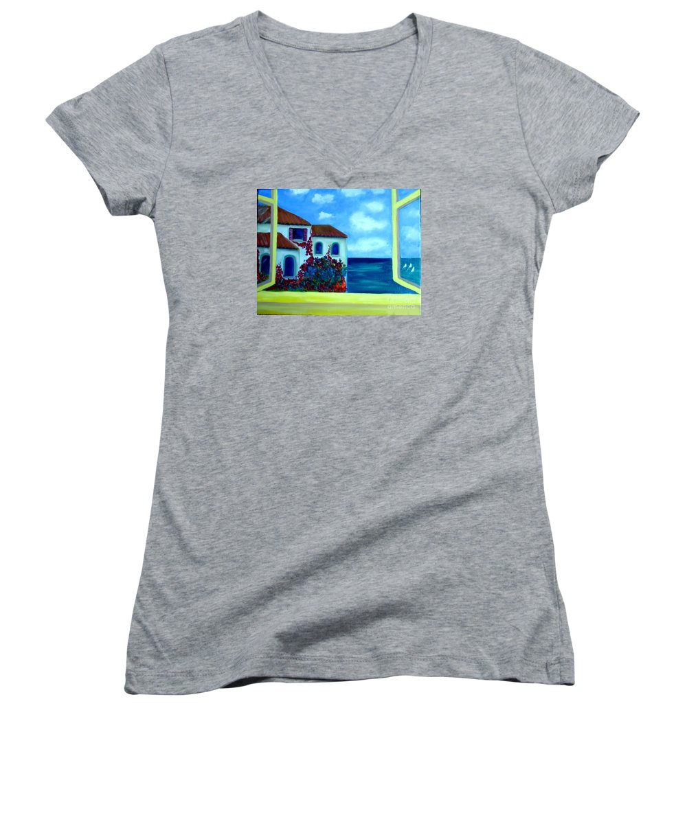 Seascape Women's V-Neck T-Shirt featuring the painting Fresh Sea Air by Laurie Morgan