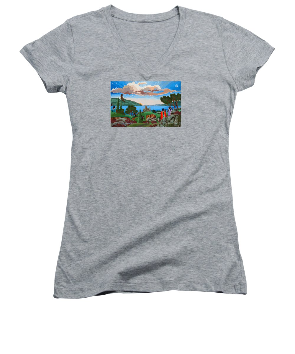 American Indian Painting Women's V-Neck featuring the painting From A High Place, Troubles Remain Small by Chholing Taha
