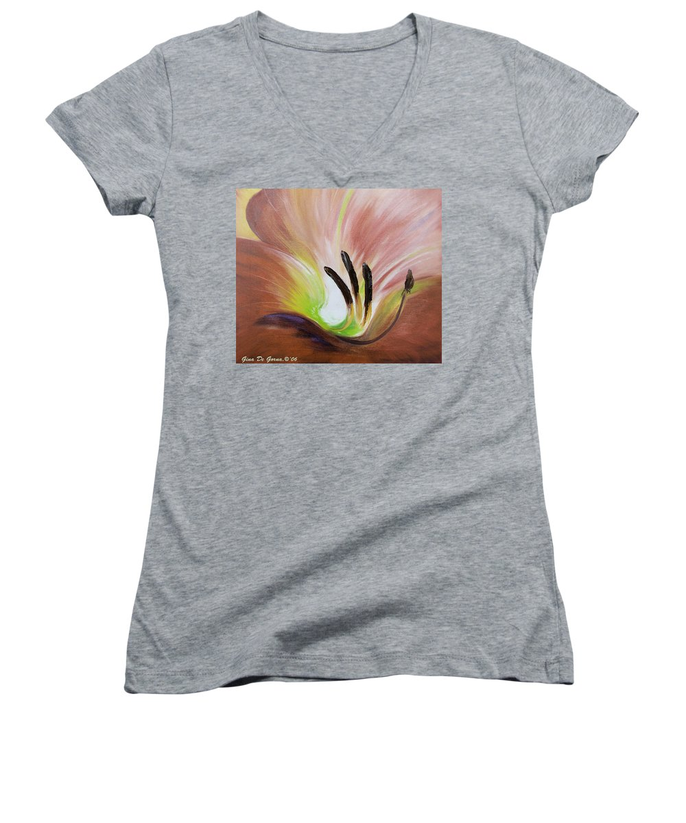 Brown Women's V-Neck T-Shirt featuring the painting From The Heart Of A Flower Brown 3 by Gina De Gorna