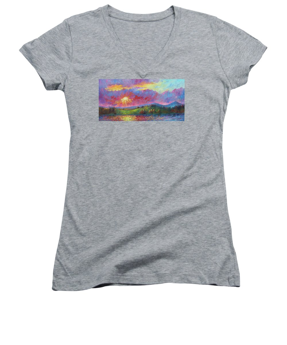 Landscape Women's V-Neck (Athletic Fit) featuring the painting Front Range Sunset by David G Paul