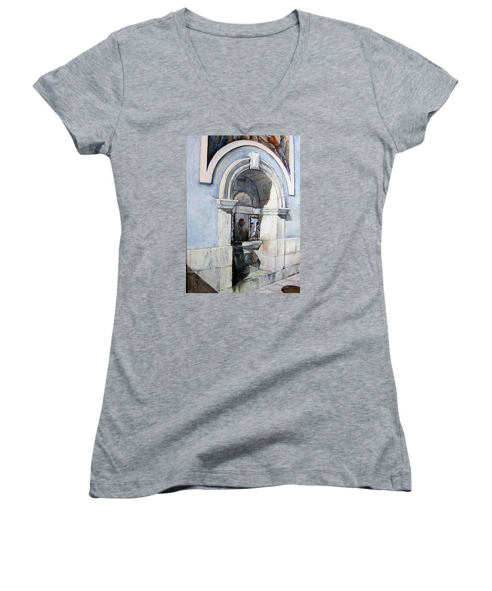 Fuente Women's V-Neck T-Shirt featuring the painting Fuente Castro Urdiales by Tomas Castano