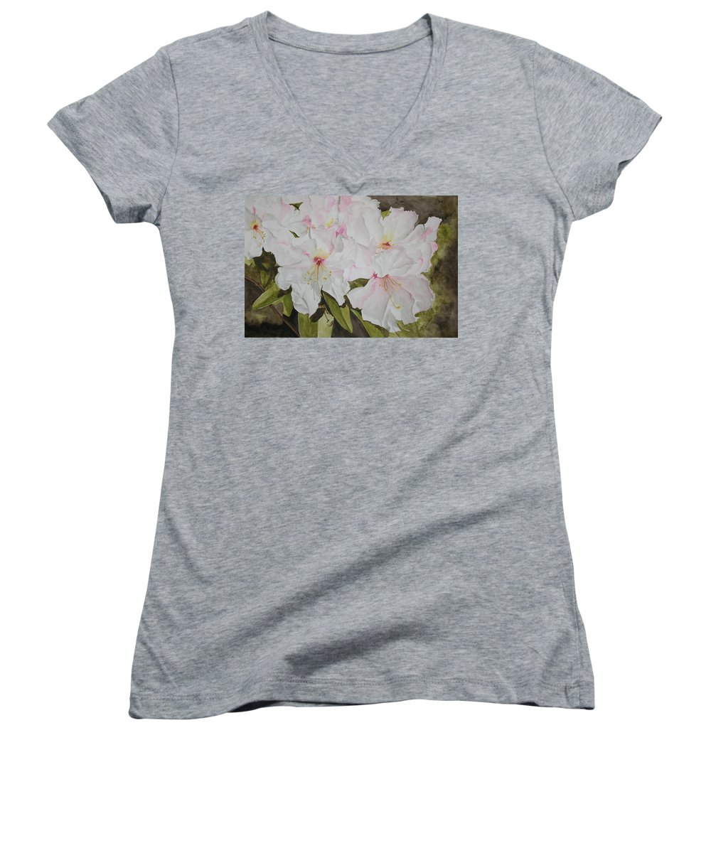 Flowers Women's V-Neck T-Shirt featuring the painting Full Bloom by Jean Blackmer